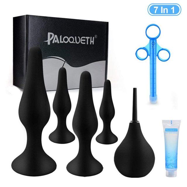 Paloqueth 4 Butt Plugs 1 Enema Set-3561
